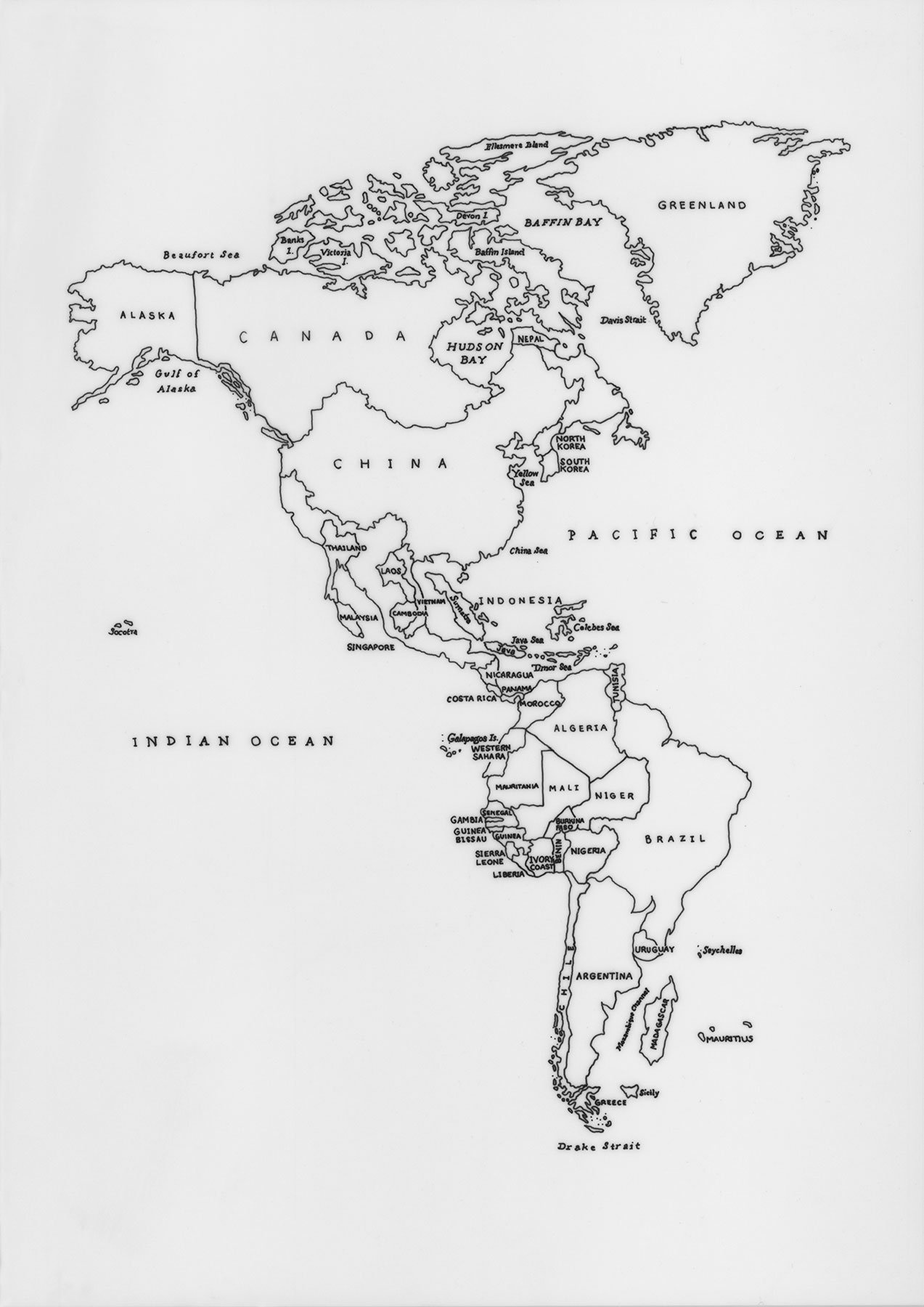 Map Of America Drawing.Layla Curtis World Political The Americas Drawing Biennial
