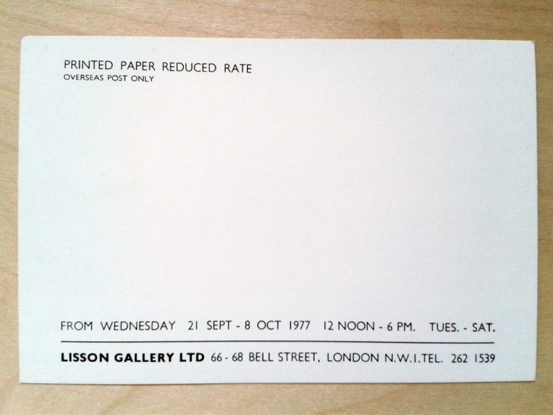 1977 private view invitation, back