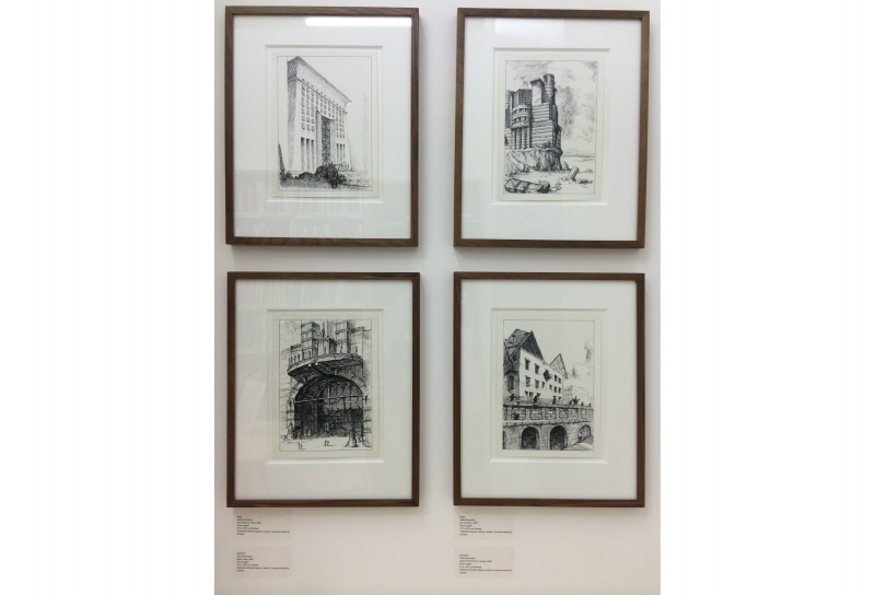 Pablo Bronstein, view of four drawings