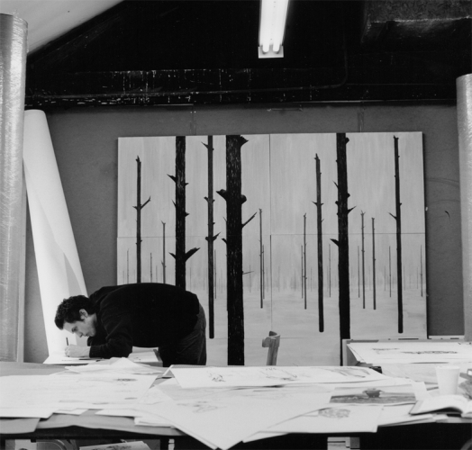 Artist Charles Avery working in his studio, 2007