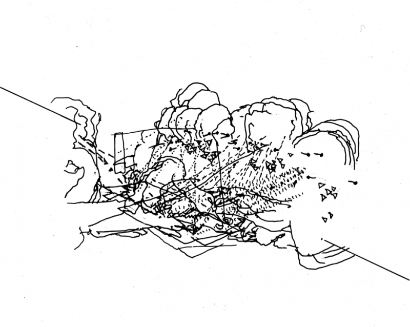 Clip1: Scroll transpo overlay: Drawing made as part of a body of research carried out at Queen Mary University, 2013