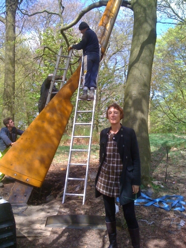 Cornelia Parker installing 'Landscape with Gun and Tree' Jupiter Artland, Edinburgh
